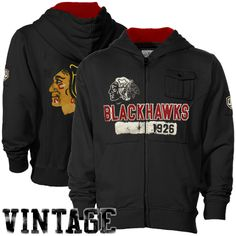 ef7f238fb Chicago Blackhawks Sweat Shirt   Old Time Hockey Chicago Blackhawks Black  Gunner Full Zip Hoodie Sweatshirt