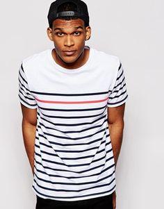 Camiseta de rayas bretonas con cuello redondo de River Island