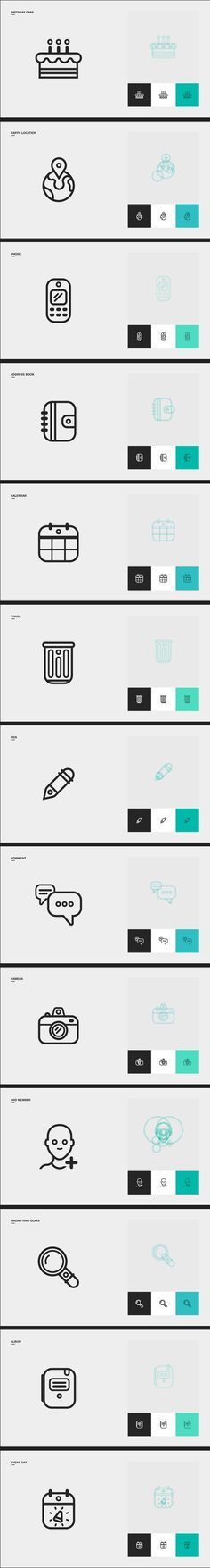 Family pics icons by Clément Pavageau, via Behance