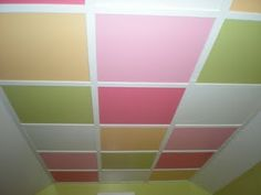 Such a great idea for a drop-ceiling. Good way to add variety  & interest especially in a kids room