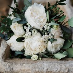 Classy but rustic bridal bouquet with white peonies. Perfect for garden wedding designed  by www.creteforlove.com