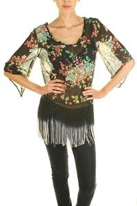 Black Floral Top w/ Fringe  $32 www.travelingtrendz.com