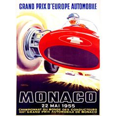 1955 Monaco F1 Grand Prix by Artist J. Ramel Wood Sign