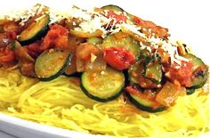 You'll Love This Low Carb, Vegetarian Spaghetti Squash Tomato Toss...What a delicious alternative to spaghetti!  You don't even have to be a vegetable lover to really enjoy this dish. I've topped it with a yummy tomato sauce.  The skinny for each serving is 97 calories, 3 grams of fat and 2 Weight Watchers POINTS PLUS. Works perfect as a vegetarian meal or as a side dish for beef, chicken or fish.