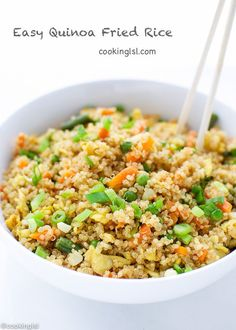 Of course much better than fast food fried rice. It takes less than 30 minutes to make, precook quinoa.Of course much better than fast food fried rice. It takes less than 30 minutes to make, precook quinoa. Quinoa Recipes Easy, Rice Recipes, Yummy Recipes, Vegetarian Recipes, Dinner Recipes, Healthy Recipes, Chicken Quinoa Recipes, Couscous Recipes, Quinoa Salad Recipes