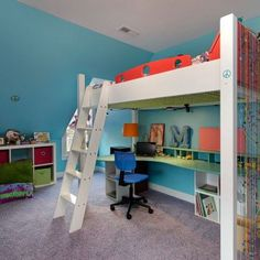 10 Loft Beds for Kids Ideas for a Contemporary Kids with a Light Blue Stairs…