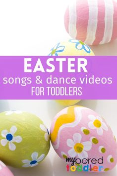 We have found some fun Easter dance videos and songs for toddlers and preschoolers – perfect to get them moving and burning off some energy! #myboredtoddler #toddleractivities #toddlersongs #dance #movement #easter #eastersongs Easter Activities For Toddlers, Songs For Toddlers, Spring Activities, Toddler Preschool, Toddler Crafts, Children Activities, Motor Activities, Preschool Art, Baby's First Easter Basket