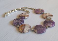 Amethyst necklace, for her, original necklace, gemstones, amethyst stones, tablet shaped, original, unique, perfect gift, for women, OOAK - pinned by pin4etsy.com