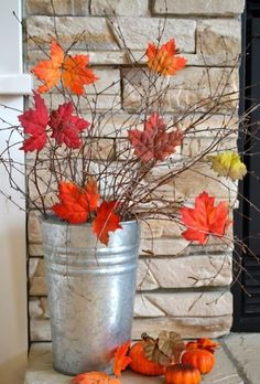 Glue polyester leaves to branches to bring a little bit of fall indoors! Porch Ideas, Outdoor Fall Decorations, Fall Festival Decorations, Fall Door Decorations For Home, Fall Home Decor, Seasonal Decor, Diy Autumn, I Fall, Autumn Home