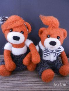 Ava & Loïs : les petits ours en laine cardée