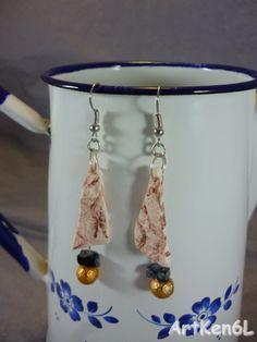Boucle d'oreille fimo tribal ethnique bijoux femme boucles d'oreilles pate polymere couleur marron : Boucles d'oreille par artken6l