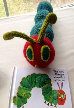 Free He's Hungry ... Caterpillar Toy Knitting Pattern - Toy softie caterpillar designed by Jillian Plante inspired by the beloved storybook character. Pictured project by StacyMora