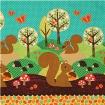 Tissu Michael Miller Nuts for Dinner vert animaux forestiers