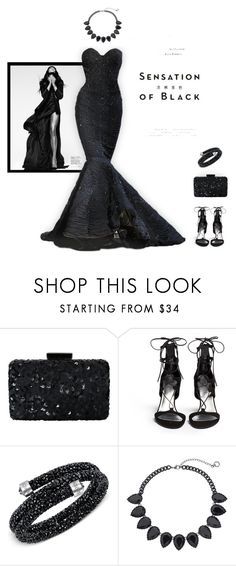 """""""Mission Monochrome: All-Black Outfit"""" by pdcohen ❤ liked on Polyvore featuring Zuhair Murad, Oscar de la Renta, Vision, Stuart Weitzman, Swarovski, Simply Vera and allblackoutfit"""