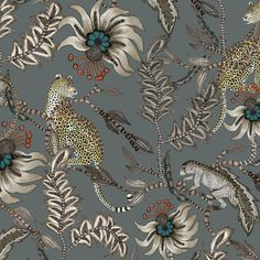 Ardmore fabric featuring leopards and mischievous Monkey Bean Ash Fabric who play and hide amongst the Lucky Bean trees in this elegant design. Tier Wallpaper, Animal Wallpaper, Fabric Wallpaper, Wall Wallpaper, Pattern Wallpaper, Illustration Photo, Illustrations, Motif Floral, Surface Pattern Design