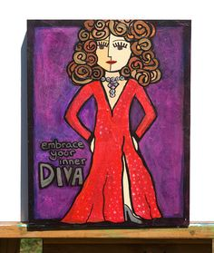 DIVA art  Embrace Your Inner Diva  WOMAN ART by claudine on Etsy, $108.00
