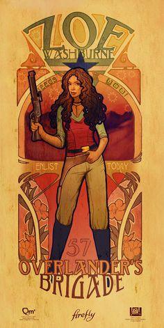 The women of Firefly in Art Nouveau style. Love it! (Zoe) #artnouveau #firefly #women