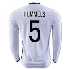 Germany Euro 2016 Home Men Long Sleeve Soccer Jersey HUMMELS #5
