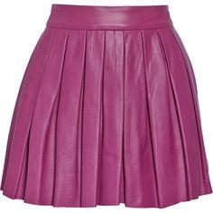 Alice + Olivia Pleated leather mini skirt (10,470 DOP) ❤ liked on Polyvore featuring skirts, mini skirts, bottoms, plum, short mini skirts, purple mini skirt, leather skirt, purple skirt and leather mini skirt