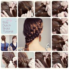 This is a side dutch braid tutorial. It was appeared om the article 3 Easy Ways Back to School Hairstyles. There are side dutch braid,twisted ponytail and twist up-do for your reference.