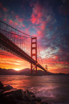 Colorful sunset as background for the Golden Gate Bridge, San Francisco California Wonderful Places, Beautiful Places, Beautiful Sunset, Places Around The World, Around The Worlds, Puente Golden Gate, Landscape Photography, Nature Photography, Photography Aesthetic