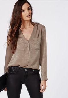 Silk Feel Dropped Hem Blouse Nude - Tops - Shirts & Blouses - Missguided