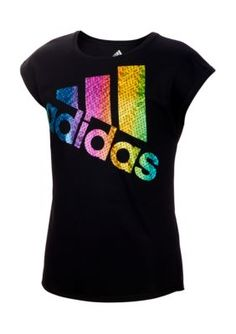 Adidas Girls' Climalite Just Shine T-shirt (Black, Size Small) - Girl's Apparel, Girl's Athletic Tops at Academy Sports Designer Sportswear, Girls 4, Graphic Tees, Graphic Design, Girl Outfits, Adidas, Womens Fashion, Caviar, Mens Tops