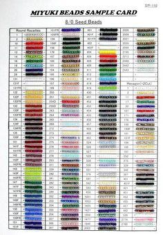 miyukitoho colour conversion chart the bead cellar