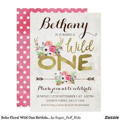 Boho Floral Wild One Birthday Invitation Wild One Birthday Invitations, Zazzle Invitations, Invitation Birthday, Invite, Floral Invitation, Invitation Design, Animal Birthday, Create Your Own Invitations, Wild Ones