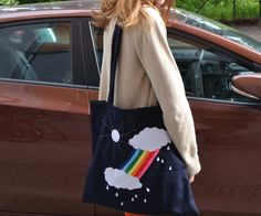 """somewhere over the rainbow"" tote bag"