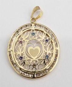 10K CZ Heart /& Flower Pendant
