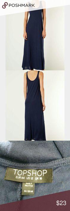 """Topshop Plain Low Back Maxi Dress Topshop plain low back maxi dress in blue. Size 12. Chest 19"""", length 55.5"""". Topshop Dresses Maxi"""