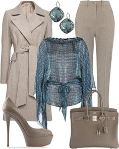 A fashion look from October 2012 featuring blue silk shirt, wrap coat with belt and maxmara pants. Browse and shop related looks. Soft Summer Color Palette, Summer Colors, Summer Wardrobe, Capsule Wardrobe, Seasonal Color Analysis, Work Fashion, Models, Work Wear, Personal Style