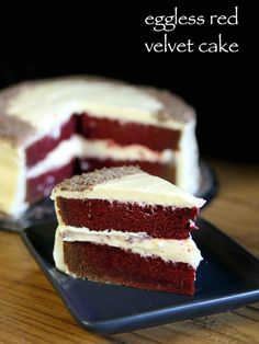 red velvet cake recipe, easy & moist eggless velvet cake recipe with step by step photo/video. soft, moist cake for birthdays, marriages or any celebrations Easy Cake Recipes, Sweet Recipes, Cookie Recipes, Snack Recipes, Cake Recipes Eggless, Veg Cake Recipe, Curry Recipes, Indian Dessert Recipes, Food Cakes