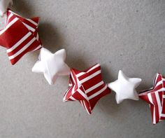 Paper Star Garland, 6 Feet - Christmas, Holiday, Red, White, Cute, Origami, Handmade, Unique, Festive, Simple, One of a Kind