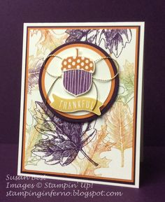 Acorny Thank You, Vintage Leaves, Stampin' Up!, What Will You Stamp?, WWYS, stampinginferno