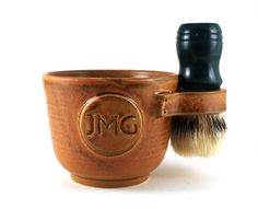 Personalized Shaving Mug: Custom Shave Mug with Monogram or Initials, Unique Pottery Gift for Men, Groomsmen Gift by MiriHardyPottery