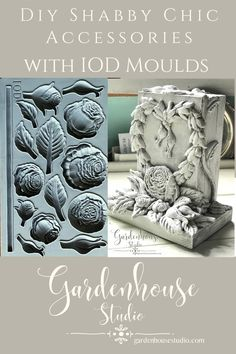 Tutorial for making shabby chic bookends with wood and IOD moulds. Simple, easy farmhouse style with air dry clay, iod moulds and chalk paint. Cottage Style Decor, Shabby Cottage, Shabby Chic, Heirloom Roses, Diy Home Accessories, Iron Orchid Designs, Chalk Paint Projects, Trash To Treasure, Romantic Homes