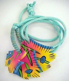 Vtg Artisan Wood Enamel Painted Colorful 3 Fish Pendant Cord Necklace #Notsigned #Pendant