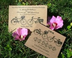 Bicycle Wedding invitations and/or  Save the Dates by sweetcookie,   These are cute too!