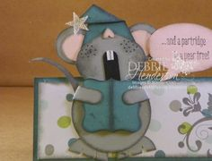 Merry Monday Challenge 143. Use a caroler on your card. Punch Art Mouse. Debbie Henderson, Debbie's Designs