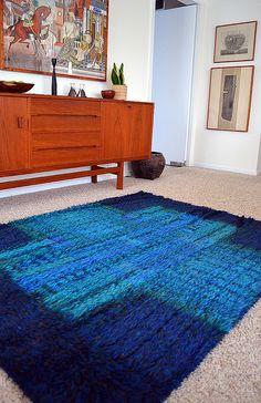 Finnish rya rug by Finnrya, c1962.