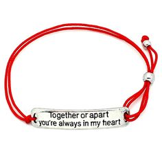 Together or apart you're always in my heart bracelet. We are never alone as long as somebody loves us. Share your heart with those important to you'll always have them close. Give as a gift to someone special and they will have a wearable reminder that they are cherished. This sentimental engraved bracelet is constructed with delicate but sturdy stretch elastic with a unique side slip knot so you can adjust for the perfect fit. Super comfortable to wear and fun to layer with your favorite…