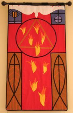 Pentecost processional banner of St. Boniface Episcopal Church, Comfort, TX