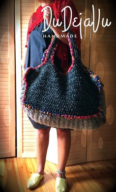 Your place to buy and sell all things handmade : Unique handmade crochet tote bag. All seasons, , 2 faces, black/orange Crochet Tote, Crochet Handbags, Crochet Purses, Love Crochet, Knit Crochet, Crochet Faces, Crochet Granny, Orange Gris, Orange Bag