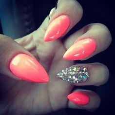 Color, pointy, single nail jeweled = NO.