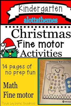 This Christmas Fine motor activity package no prep printable worksheets are great during the month of December for your math or fine motor centers. These printables are fun while teaching subitizing and number recognition.a must for your classroom Kindergarten Themes, Kindergarten Learning, Alphabet Activities, Motor Activities, Printable Worksheets, Printables, Early Childhood Activities, Subitizing, Spring Crafts For Kids