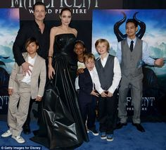 A family affair: Angelina was joined by Brad Pitt and five of their six children, (L-R) Pax, Zahara, Knox, Shiloh and Maddox at LA premiere of Maleficent.