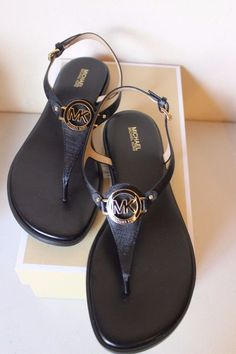 a4a764a00b5 Michael Michael Kors Lee Leather Black Thong Sandal Women s Size 10 NEW   110…