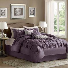 Light grey and dark purple bedroom scheme